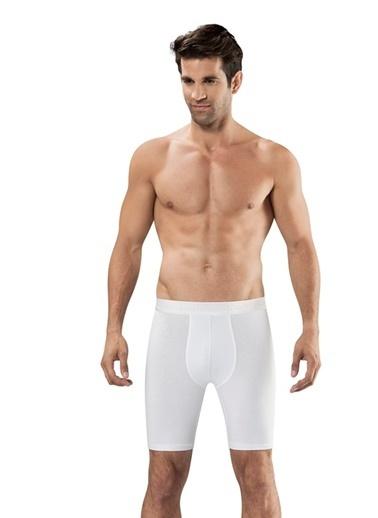 Obje Dıştan Lastikli Pamuklu Uzun Boxer Beyaz